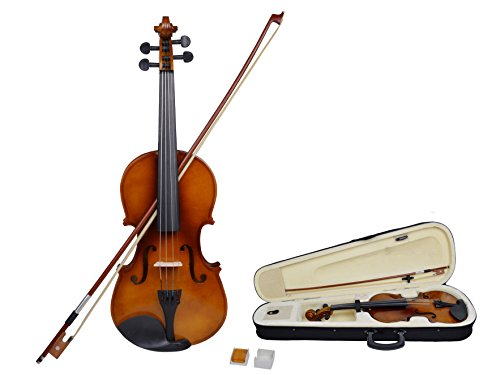 TMS® 4/4 Full Size Natural Acoustic Violin Fiddle with Case Row Rosin Wood Color New