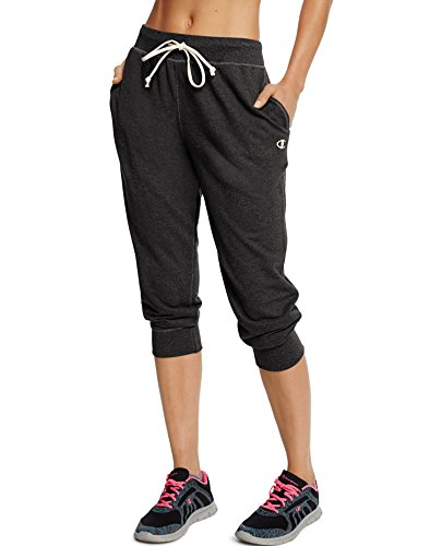 Champion Women's French Terry Jogger Capri, Black, Small