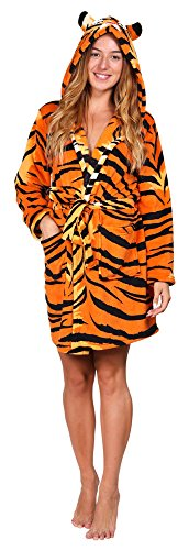 Totally Pink Women's Warm and Cozy Plush Character Robe (Large, Tiger)