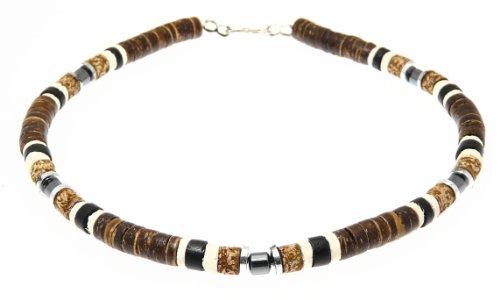 Beautiful Coco Wood & Hematite Bead Beads Surf Surfer Style Necklace / Choker - C