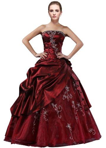 DLFashion Strapless A-line Embroidered Taffeta Prom Dress L-12