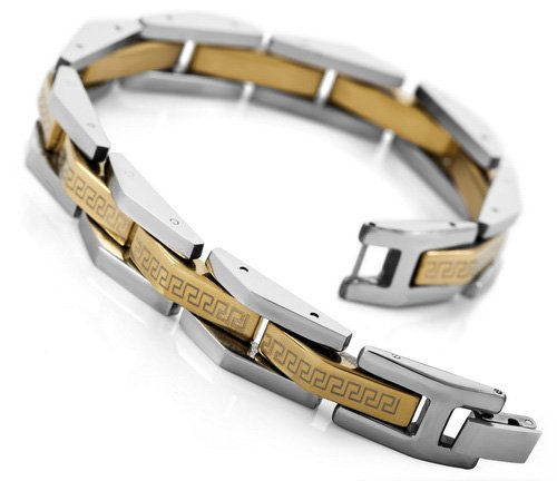 Justeel Jewelry Mens Silver Gold Stainless Steel Bracelet Cuff Link Bracelet Wrist Band Chins