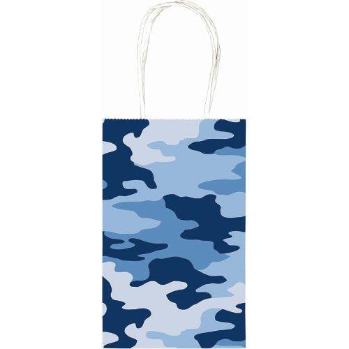 "Handy Birthday Party Camo Paper Cub Bag, 8-1/2 x 5-1/4 x 3-1/2"", Blue"