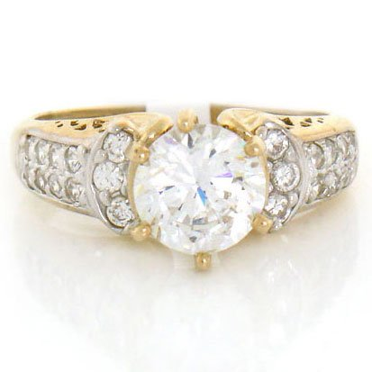 9ct Solid Yellow Gold White CZ Engagement Ring Jewellery