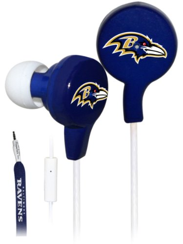 Ihip Official Nfl - Baltimore Ravens - Great Quality Shoelace Style Earbud With Built In Microphone, Nfe52Bar