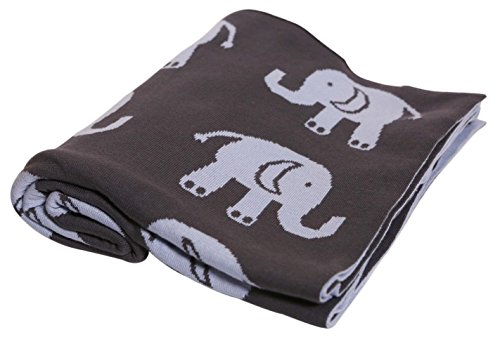 Pluchi Indian Elephants Dark Grey & Sea Blue Knitted Kids Blanket