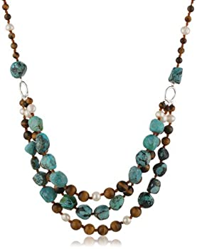"Tiger Eye, Turquoise and White Freshwater Cultured Pearl Three-Row Necklace, 19.5+4"" Extender"