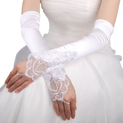 Artwedding Fingerless Opera Satin Gloves with Lace Floral Pattern and Pearl, White, One Size