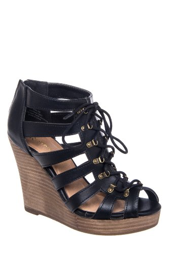 Magia High Wedge Caged Lace Up Sandal
