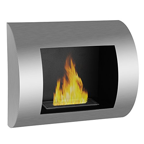Demi-lune Glow Wall Mounted Ventless Ethanol Alcohol Fireplace. Modern Single Burner Indoor Blueprint. Stunning Brushed Steel Finish.