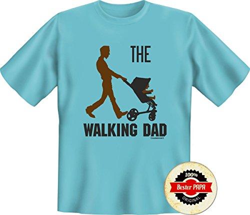 Set regalo papà & Europa: T-Shirt (S-5x l) motivo a scelta + Button Miglior papà o coordinato Bester Opa WALKING DAD sky XL