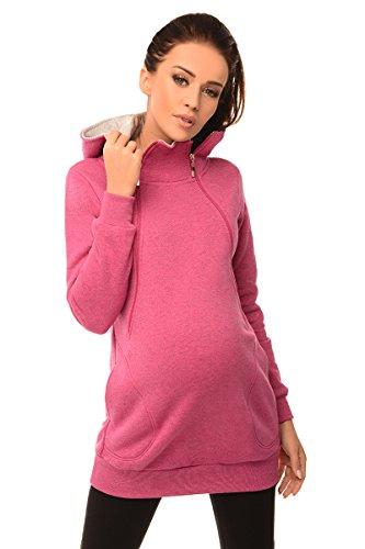 Purpless Maternity 2in1 Pregnancy and Discreet Nursing Hoodie with Zips 9052 (12, Dark Pink Melange)