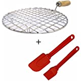 SahiBUY Roti Jali Roaster Grill For Chapati & Papad With Silicone Oil Brush Cake Spatula Set (Color May Vary)