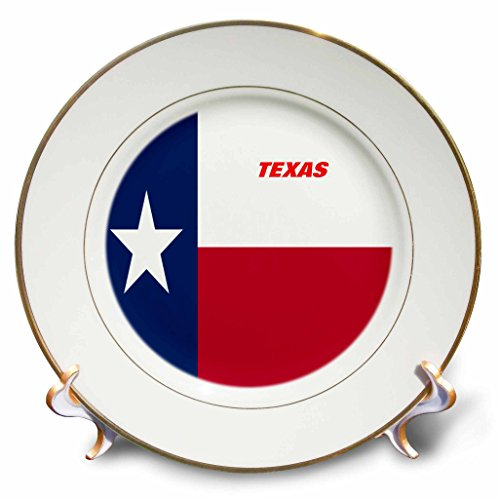 3dRose cp_45021_1 State Flag of Texas-Porcelain Plate, 8-Inch