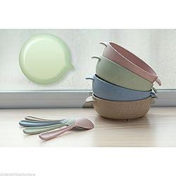 New Non Spill Feeding Dinner Baby Kids Toddler Bowls Soft Tip Spoons Set Health