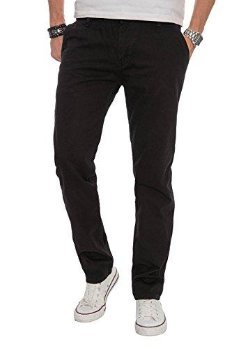 A. Salvarini Herren Designer Chino Stoff Hose Chinohose Regular Fit AS016 [AS016 - Schwarz - W34 L32]