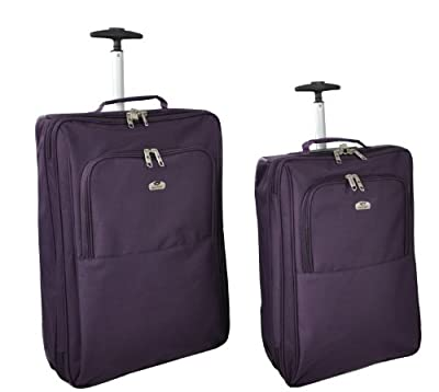 "Aerolite, 3 year warranty, Plum SET Small cabin size 18"" and 21"", Ultra Lightweight Strong 600denier Polyester rip stop material trolley suitcase, flight bag (Plum) - 'Right Size, Right Weight, Right Price!' - LuggageTravelBags from USB International"