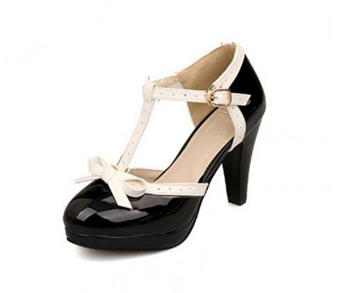 Lucksender Fashion T Strap Bows Womens Platform High Heel Pumps Shoes 0