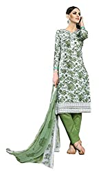 Sanvan White and Green Pure Cotton Floral Print Salwar Suit Material_SV190SF