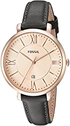 Fossil Women's ES3707 Jacqueline Three Hand Leather Watch - Grey and Rose Gold-Tone