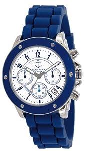 Naf Naf - N10049-208 - Régate - Montre Femme - Quartz Chronographe - Cadran Blanc - Bracelet Silicone Bleu