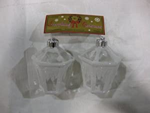 "White Snow Frosted Acrylic Antique Lantern Christmas Ornaments (Set Of Two). A Classy & Tasteful ""Crystal Like"" Addition To Your Holiday Decorations. Numerous Additional Coordinating Styles, Colors And Shapes Are Available."