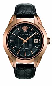 Versace Character Men's Automatic Watch with White Dial Analogue Display and Black Leather Strap 25A380D008 S009
