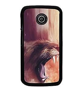 Fuson Premium 2D Back Case Cover Roaring Lion With Multi Background Degined For Motorola Moto E2::Motorola Moto E (2nd Gen)