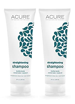 Acure Organics Coconut Straightening Brazilian Keratin Coconut Water + Marula Oil Natural Shampoo, 8 fl. oz. (Pack of 2)