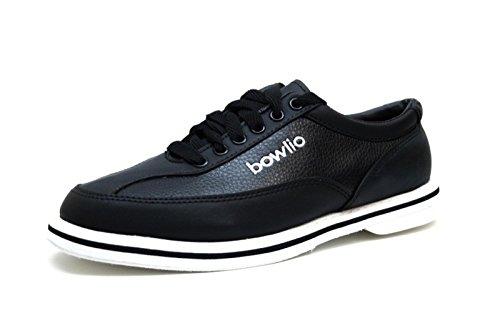 Bowlio Black 1 - Bowlingschuhe aus Leder für Damen und Herren in Schwarz