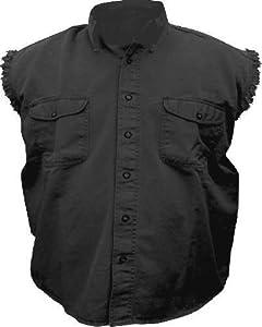 Mens Black Cotton Twill Sleeveless Shirt AL-2901-3XL