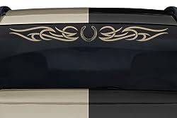 See Sticky Creations - Design #165-01 Horseshoe Horse Shoe Tribal Curls Swirl Windshield Decal Sticker Vinyl Graphic Back Rear Window Banner Tailgate Car Truck SUV Van Go Cart Boat Trailer Wall | 36