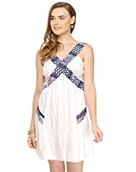 White Dress With Contrast Panels Small