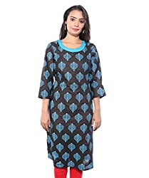 Lal Chhadi Women's 3/4 Sleeve Printed Cotton Blue color Round neck Kurta