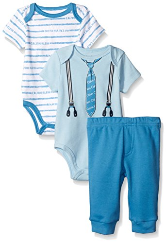 Calvin Klein Baby Boys' 3 Piece Bodysuit and Pant Set, Blue, 0-3 Months