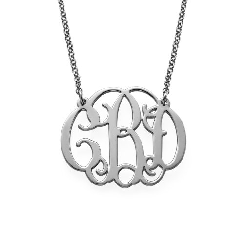 Sterling Silver Fancy Monogram Necklace (18 Inches)