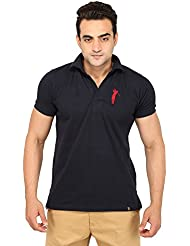 Filimore Men's Half Sleeve Navy Blue Without Button_Open Neck Regular Fit Polo T Shirt