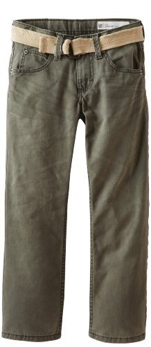 Big Boys' Dungarees Belted Slim Straight Leg Jeans, Canteen