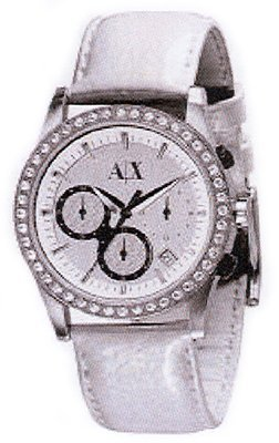 Armani Exchange Leather Silver White Dial Women's Watch #AX5004