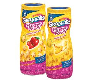 Gerber Finger Foods Puffs, 3 Strawberry and Apple Puffs and 3 Banana Puffs(6 per Pack) - 1
