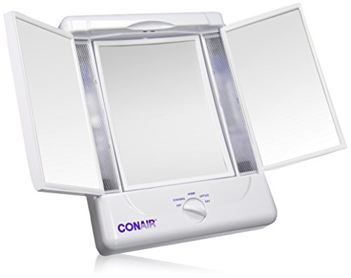 Illumina by Conair Collection Two-Sided Lighted Makeup Mirror with 3 Panels and 4 Light Settings (Lighted Vanity Mirror Conair compare prices)
