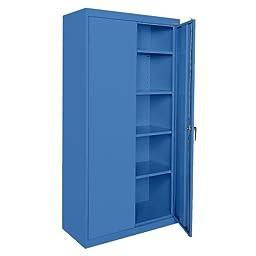 Sandusky Lee CA41361872-06, Welded Steel Classic Storage Cabinet, 4 Adjustable Shelves, Locking Swing-Out Doors, 72\