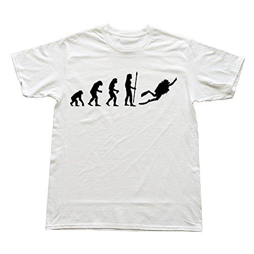 Goldfish Men'S Art 100% Cotton Evolution Dive T-Shirt White Us Size Xl