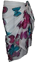 White Sarong with Butterfly Design