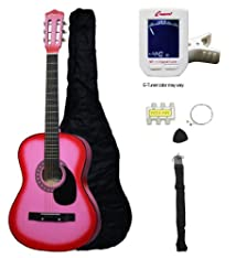 Crescent MG38-PK 38 Acoustic Guitar Starter Package PINK (Includes CrescentTM Digital E-Tuner)