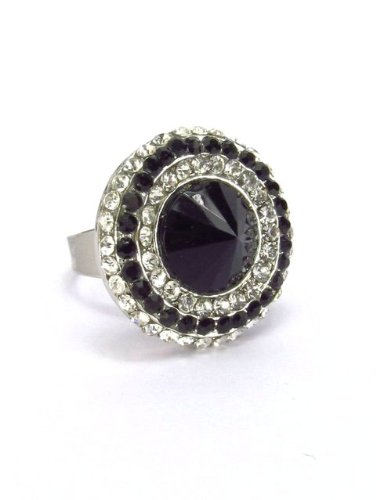 Jewelery Bliss Party Wear Ring : Black and Silver stones for Women (multicolor)