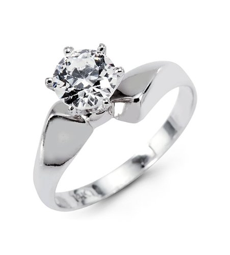 New Round Solitaire CZ 14k White Gold Engagement Ring