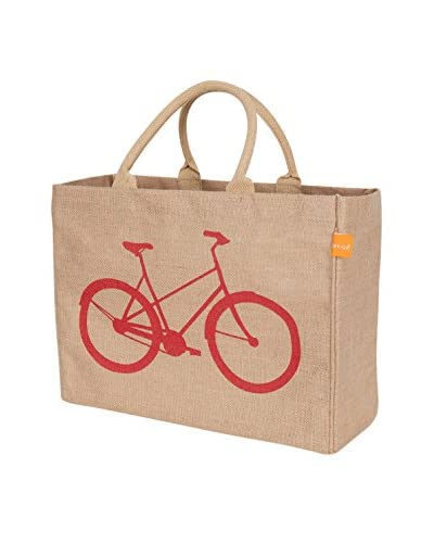 KAF Home Bicycle Jute Market Tote, Red