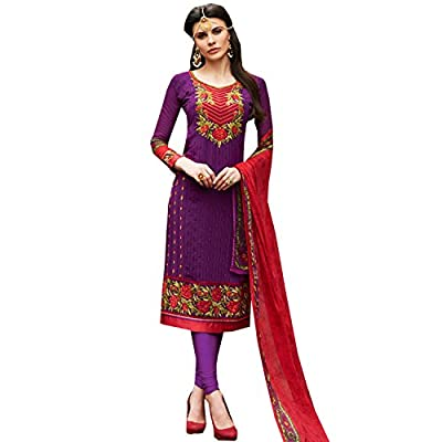 EthnicCrush Women's Georgette Semi Stitched Embroidered Salwar Kameez(ECKE3271Vogue15005,Purple)
