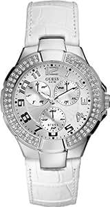 Guess - W11008L1 - Montre Femme - Quartz Analogique - Cadran Argent - Bracelet Cuir Blanc